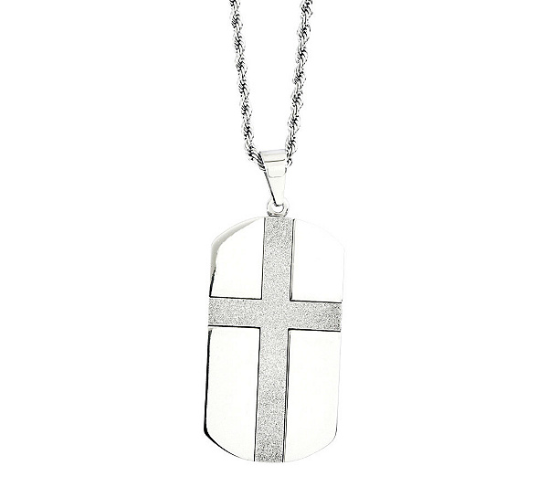 Forza stainless steel cross design dog tag pendant w24chain page forza stainless steel cross design dog tag pendant w24chain page 1 qvc aloadofball Gallery
