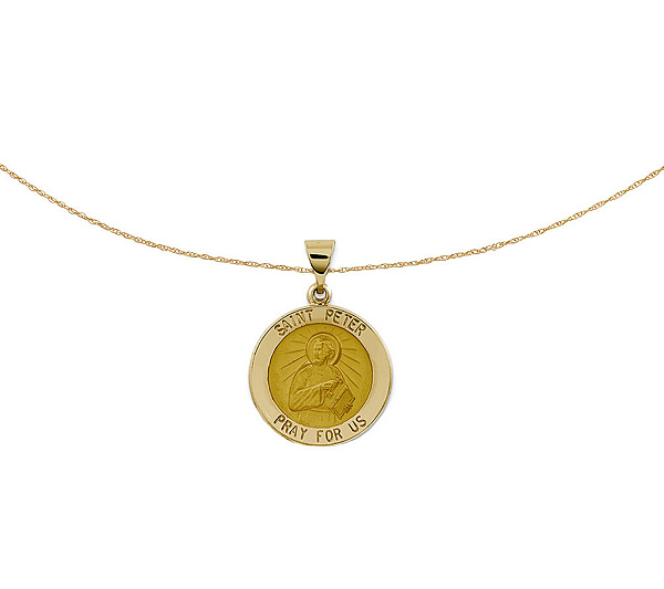 Polished saint peter pendant w 18 chain 14kgold qvc aloadofball Images