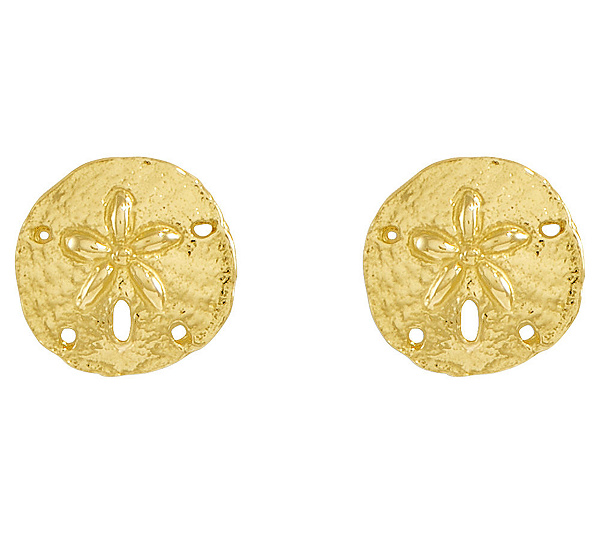 Polished Sand Dollar Stud Earrings 14k Gold Product Thumbnail In Stock