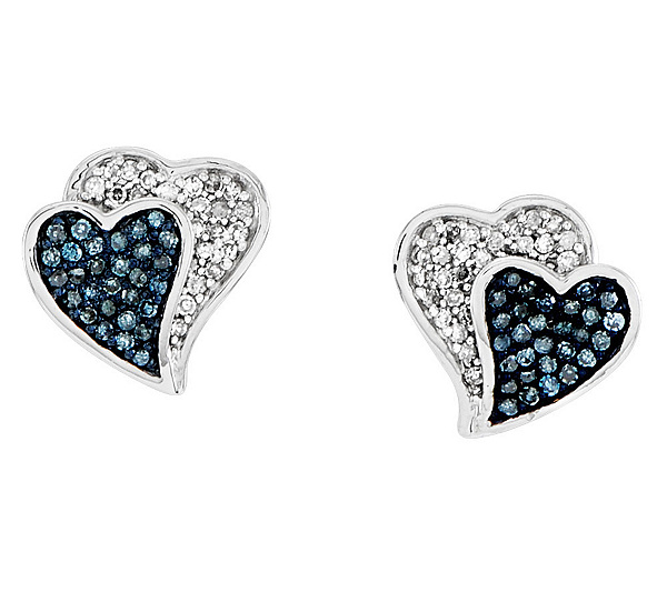 Blue White Diamond Heart Earrings Sterling By Affinity Product Thumbnail In Stock