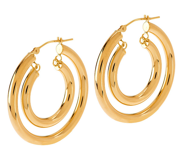 As Is Eternagold Bold Polished Double Hoop Earrings 14k Gold Page 1 Qvc