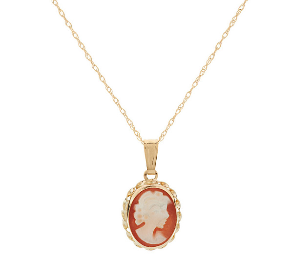 As is 14k gold cameo pendant w18 chain page 1 qvc as is 14k gold cameo pendant w18 chain page 1 qvc aloadofball Images