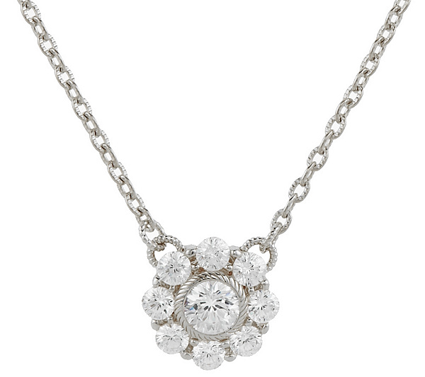 Judith ripka sterling diamonique flower necklace page 1 qvc aloadofball Images