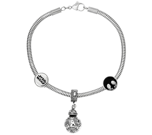 Star Wars Stainless Steel Character Charm Bracelet Back To Video