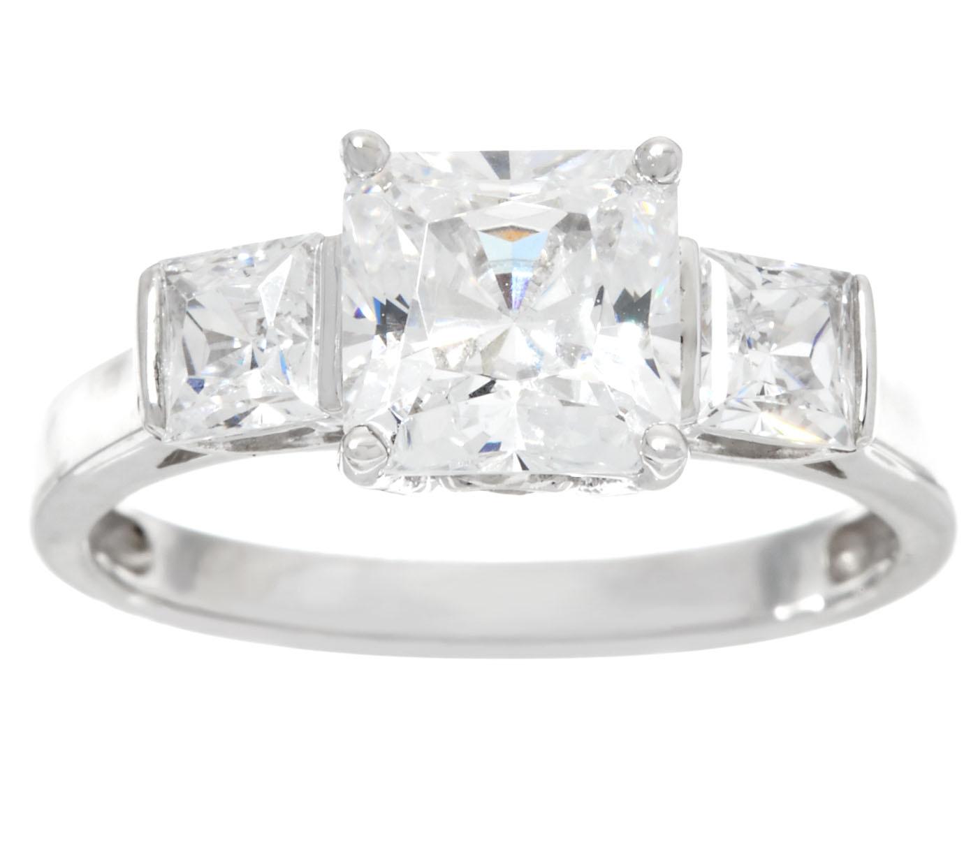 Diamonique Three Stone Princess Cut Ring 14k Gold Page 1 Qvc Com