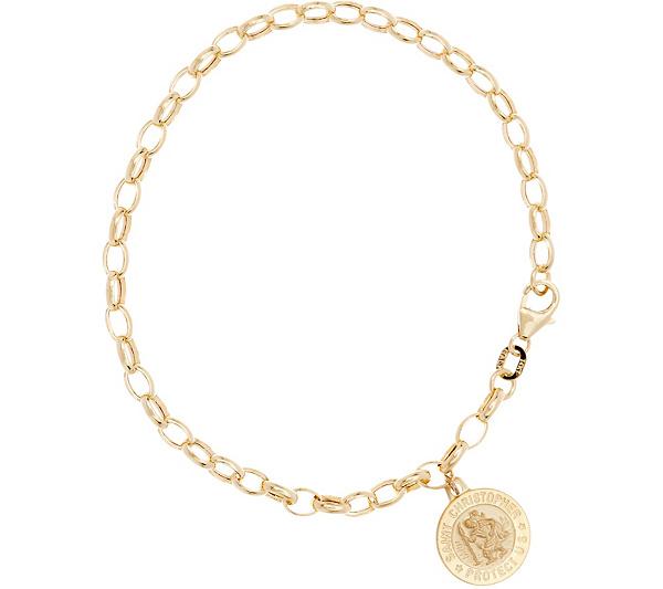 Italian Gold 7 1 4 Rolo Link Saint Charm Bracelet 14k 3 0g Page Qvc