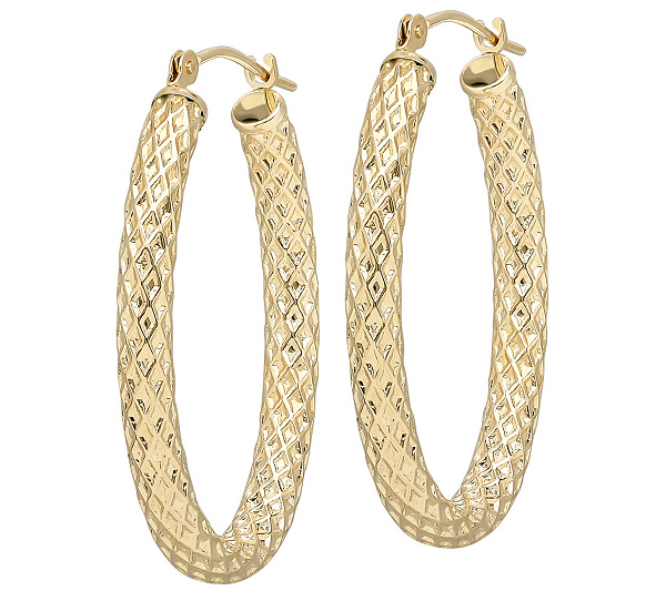 Eternagold Oval Basket Weave Hoop Earrings 14k Gold Page 1 Qvc
