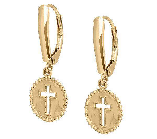 Eternagold Polished Cross Dangle Lever Back Earrings 14k Gol Page 1 Qvc