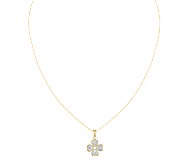 Diamond four leaf clover pendant w 18 necklace 14k qvc mozeypictures Image collections