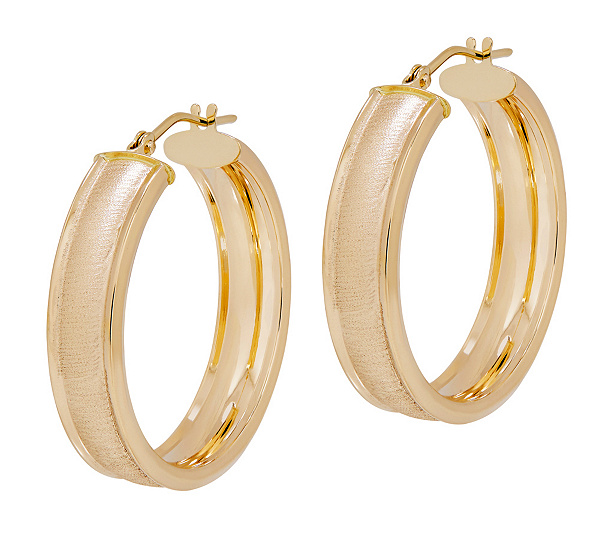 Eternagold Textured Cigar Band Hoop Earrings 14k Gold Page 1 Qvc