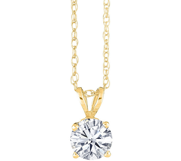 Round diamond pendant 14k yellow gold 13 cttw by affinity qvc aloadofball Choice Image