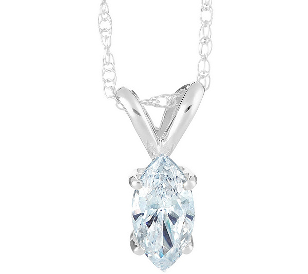 Marquise diamond pendant 14k white gold 34 ct by affinity qvc aloadofball Images