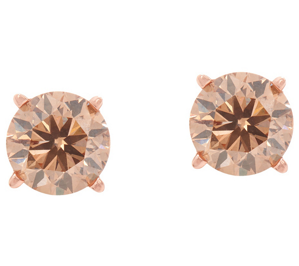 Champagne Diamond Round Stud Earrings 14k 9 10 Cttw By Affinity Back To Video