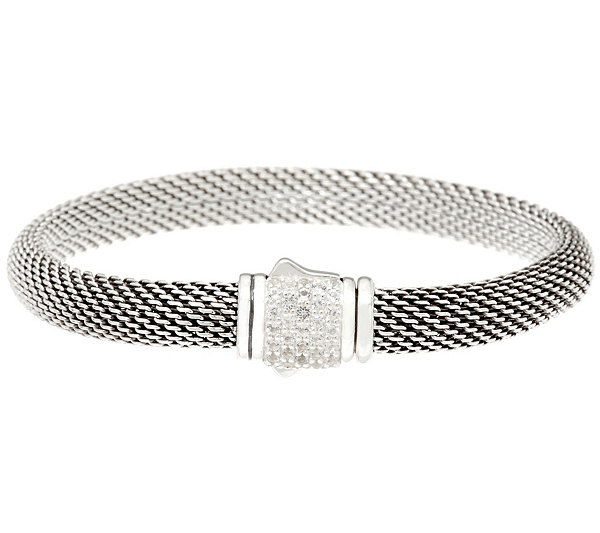 As Is Jai Sterling Silver Mesh Bracelet W Pave Gemstone Clasp Page 1 Qvc