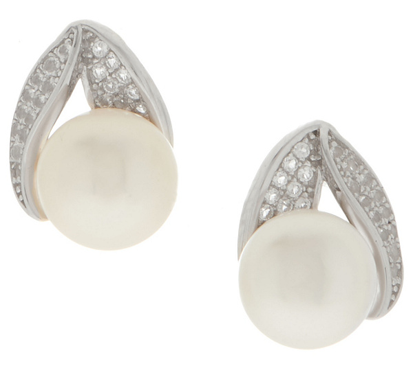 Honora Cultured Pearl White Topaz Earrings Sterling Back To Video