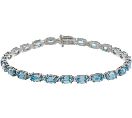 Blue Zircon Oval 6 3 4 Tennis Bracelet 13 50 Cttw 14k Gold Page 1 Qvc Com