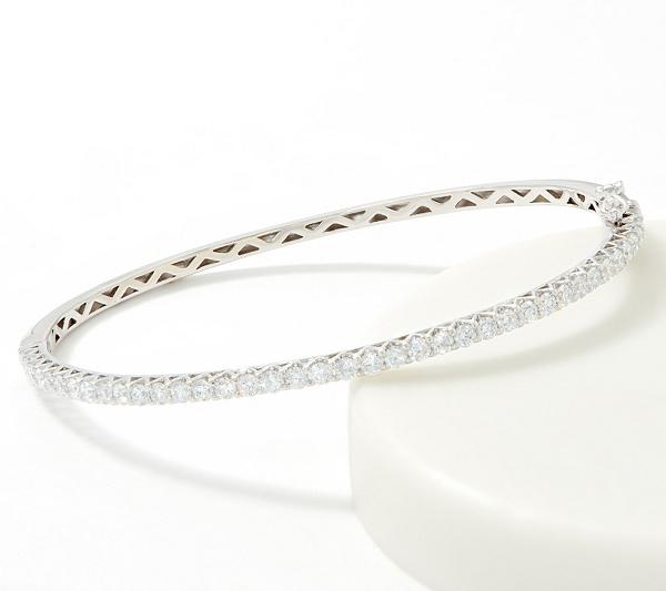 As Is Fire Light Lab Grown Diamond 14k Hinged Bangle 1 90cttw Qvc