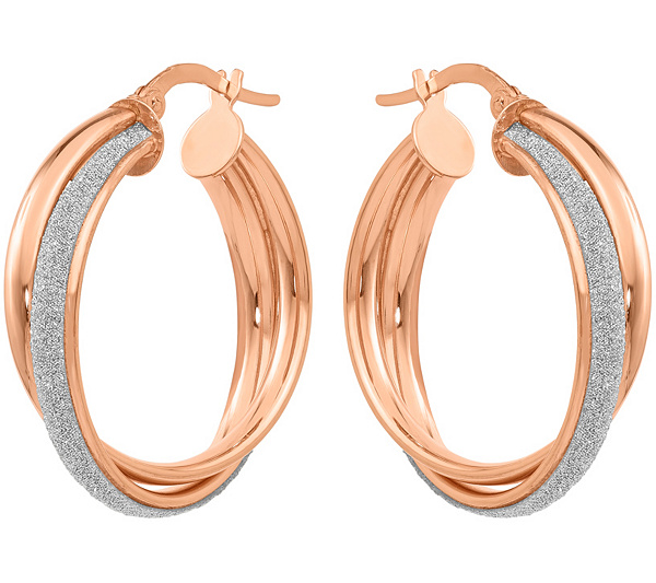 2a5962b17 14K Rose Gold Crossover Glimmer Infused Hoop Earrings — QVC.com