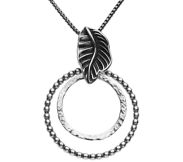 Or paz sterling double circle pendant with chai n qvc aloadofball Choice Image