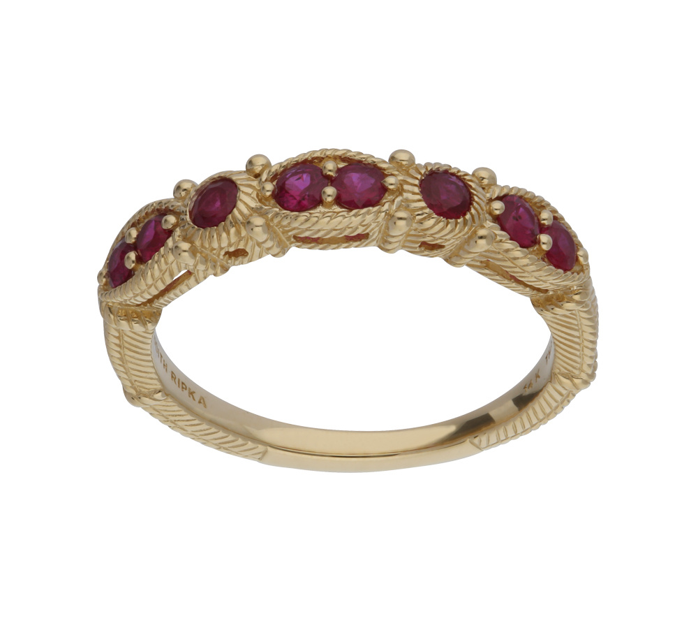 Judith Ripka 14K Gold Ruby Band Ring — QVC