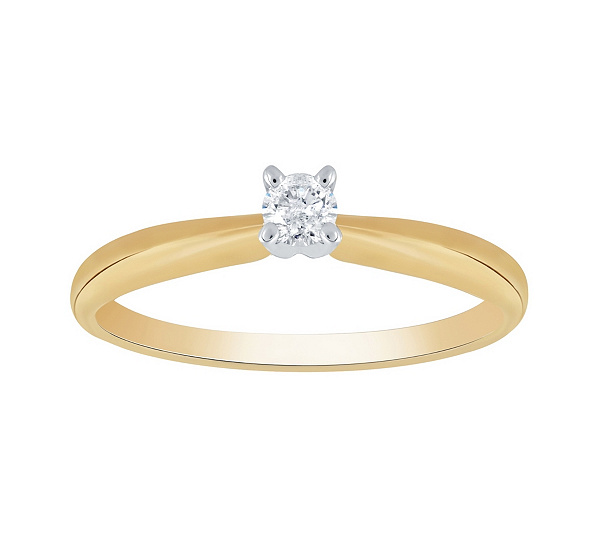 Affinity 14k Gold 1 10 Cttw Round Solitaire Diamond Ring Qvc Com