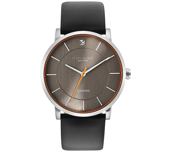 kenneth cole ny men s black leather strap watch qvc com