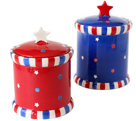 Temp-tations Set of 2 Red, White, and Blue Canisters