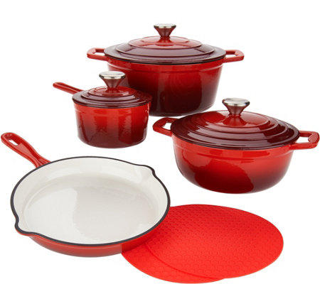 """As Is"" Cook's Essentials 7-pc Gradient Cast Iron Cookware Set"