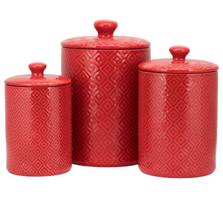 10 Strawberry Street 3-Piece Ceramic Diamond Canister Set