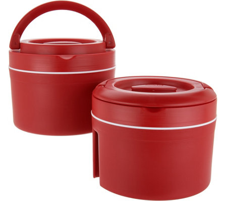 Set of (2) 10-cup Thermal Spill-proof Containers with Handles