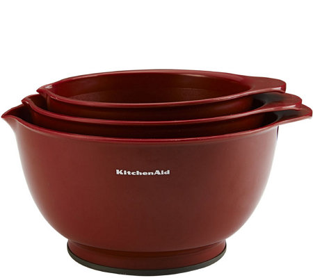 KitchenAid Set of 3 Red Mixing Bowls