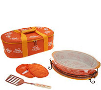 Temp-tations Floral Lace 3qt Oval Baker with Lid-it & Tote - K46101