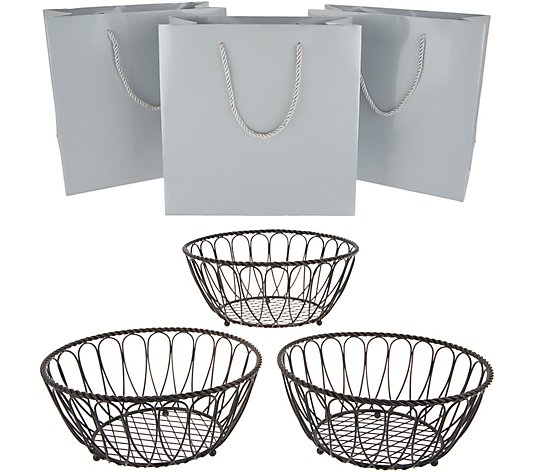 Gourmet Basics by Mikasa Set of 3 Centerpiece Baskets