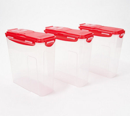 Lock & Lock Set of 3 Cereal Storage Containers with Flip-Top Lids