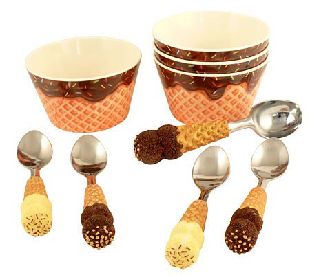 ice cream bowl set bowls spoons amp scoop nine set qvc 4386