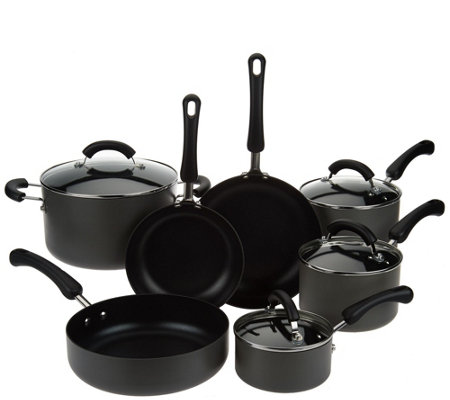"""As Is"" Cook's Essentials 11pc Hard Anodized Dishwasher Safe Cookware Set"