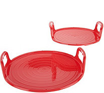 Cook's Essentials Set of 2 Nesting Microwave Trays - K44604