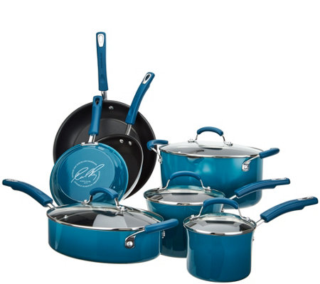 """As Is"" Rachael Ray 11-pc Gradient Porcelain Enamel Cookware"