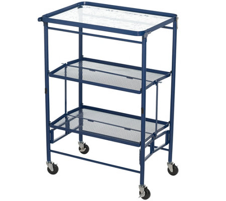 Temp-tations Etched Glass Top Collapsible Kitchen Cart — QVC.com
