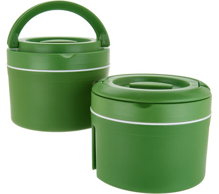 """As Is"" Set of (2) 10-cup Thermal Spill- proof Container with Handles"