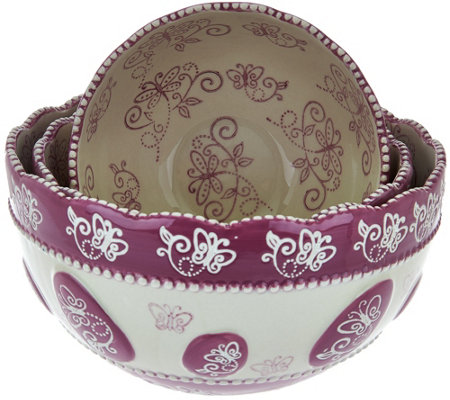 Temp-tations Floral Lace Set of 3 Nesting Bowls