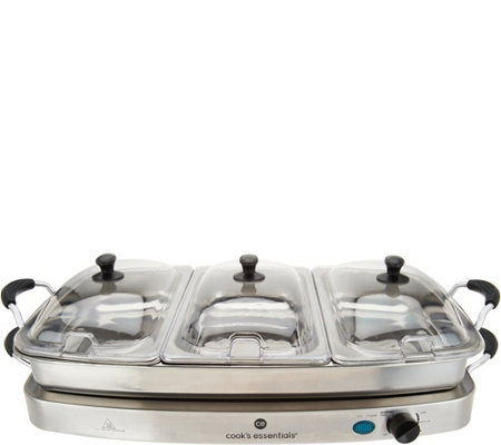 Cook's Essentials 3-Tray Buffet Server & Warming Tray