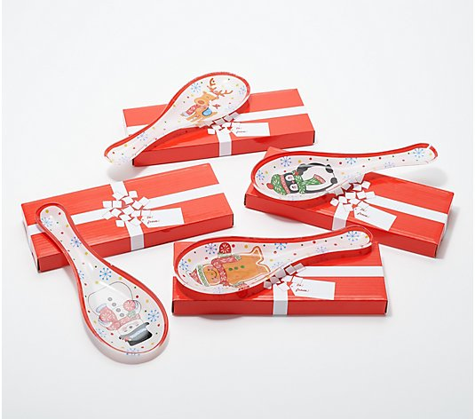 Temp-tations S/4 Seasonal Print Glass Spoon Rests w/ Gift Boxes