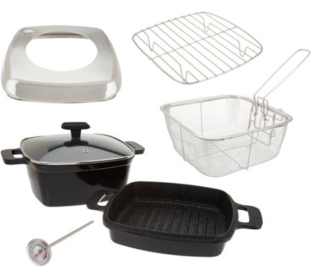 """As Is"" Cook's Essentials 7-Piece Cast Aluminum Cooking System"