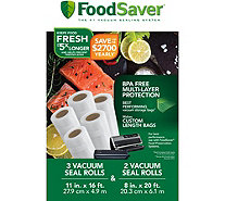 "FoodSaver Three 11""W & Two 8""W Vacuum-Seal Rolls Combo Pack - K375109"