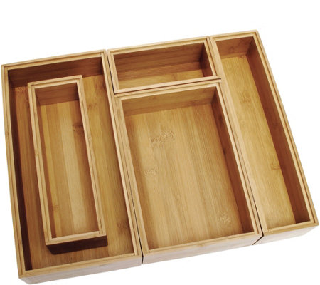 Lipper Bamboo Organizer Boxes 5 Pc Set