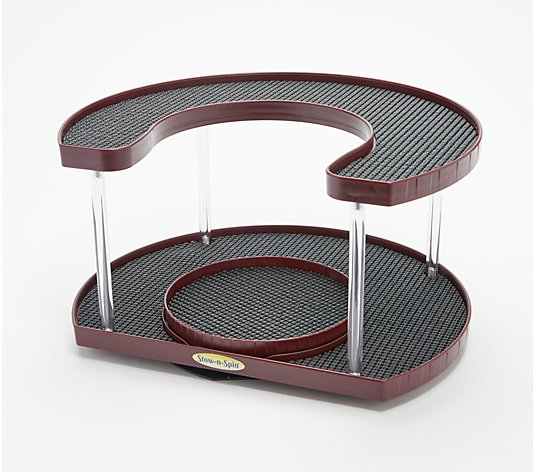 Stow-n-Spin Two-Tier Deluxe Storage Turntable Organizer