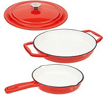 "Cook's Essentials Cast-Iron 12"" Pan with Lid & 8"" Pan - K47612"