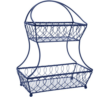 Gourmet Basics by Mikasa Loop & Lattice 2-Tier Flatback Basket