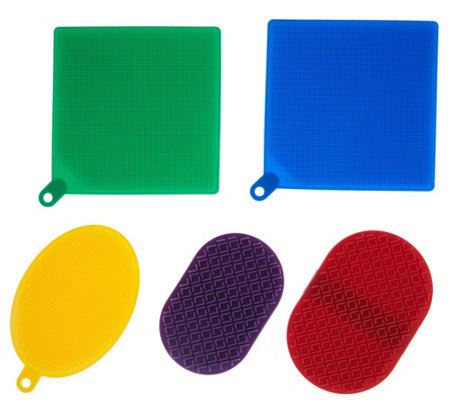 Cook's Essentials Set of 5 Silicone Scrubbers